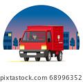 輕型卡車,郵政服務,投遞,在夜城運行的郵局的郵件收集 68996352