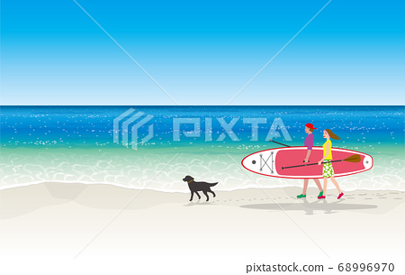 一對攜帶熱帶海洋和站立式槳板的夫婦 68996970