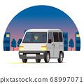 輕型貨車,一個箱子,運輸,運送,在夜間城市運行的運輸 68997071