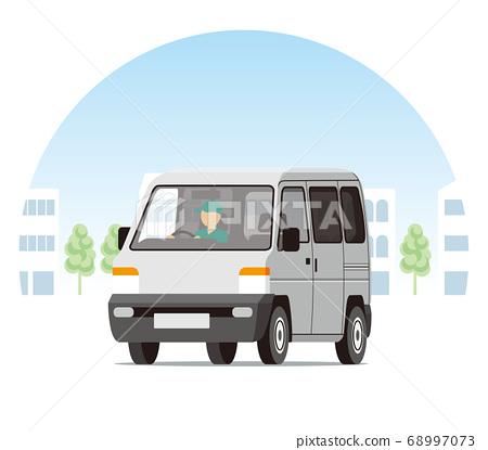 輕型貨車,一個箱子,運輸,運送,在城市中運行的運輸 68997073