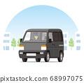 輕型貨車,一個箱子,運輸,運送,在城市中運行的運輸 68997075