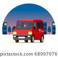 郵局輕型貨車,一個箱子,送貨車,玉賓,派遞,夜城運行的運輸 68997076
