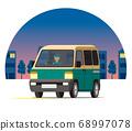 快遞貨車,一個盒子,快遞貨車,運輸,派遞,在夜間城市運行的運輸 68997078