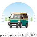 輕型快遞員,一個箱子,快遞車,運輸,交付,在城市中運行的快遞員的運輸 68997079