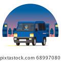 輕型貨車,一個箱子,運輸,運送,在夜間城市運行的運輸 68997080