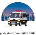 警車,輕型貨車,一個箱子,警車,警察,巡邏隊在夜城奔跑 68997082
