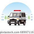 警車,輕型貨車,一個盒子,警車,警察,在城市運行的巡邏 68997116