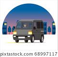 輕型貨車,一個箱子,運輸,運送,在夜間城市運行的運輸 68997117