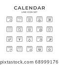 Calendar Line Icons. Editable Stroke. Pixel Perfect. 68999176