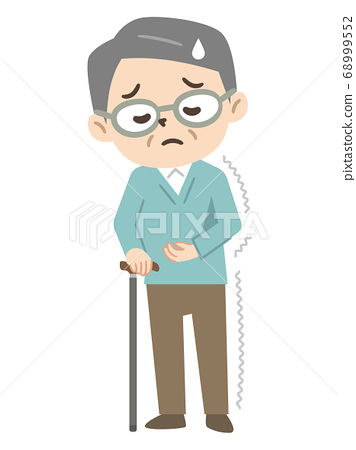 Elderly man with a cane for hemiplegia 68999552