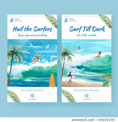 Instagram template with surfboards at beach design 69000295