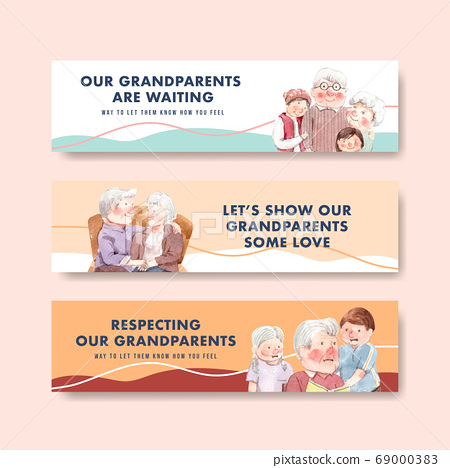 Banner template with national grandparents day 69000383
