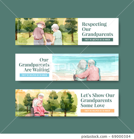 Banner template with national grandparents day 69000384