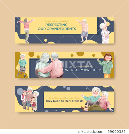 Banner template with national grandparents day 69000385
