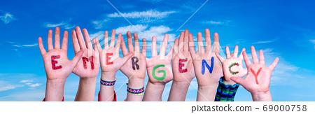 Children Hands Building Word Emergency, Blue Sky 69000758