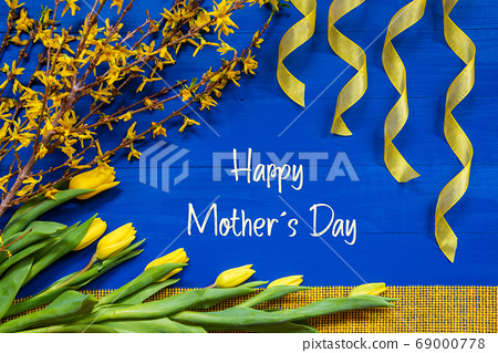 Spring Flowers Decoration, Branch, Ribbon, Text 69000778