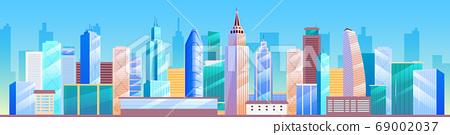 Urban landscape flat color vector illustration 69002037