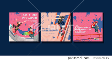 Ads template with skateboard design concept for 69002045
