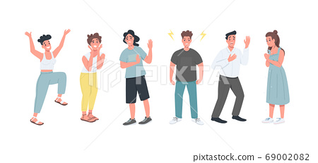 Different feelings flat color vector faceless character set 69002082