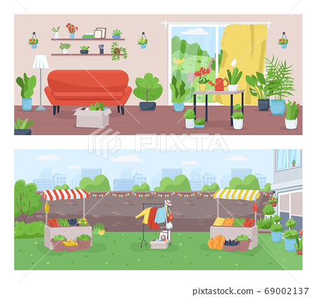 Gardening and farming flat color vector illustration set 69002137