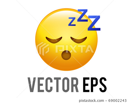 The vector yellow sleepy face icon with ZZZ symbols 69002243