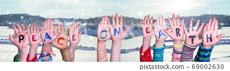 Children Hands Building Quote Peace On Earth, 69002630