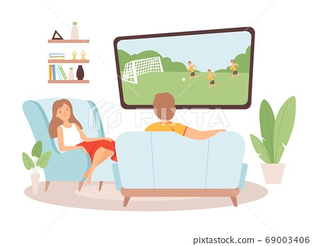 Couple spend time together. Woman man watch TV, football fans. Family in living room, stay at home vector illustration 69003406