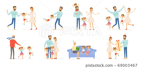 Family characters. Happy kids with parents in action poses father childrens mother and grandparents couples of family groups vector people 69003467