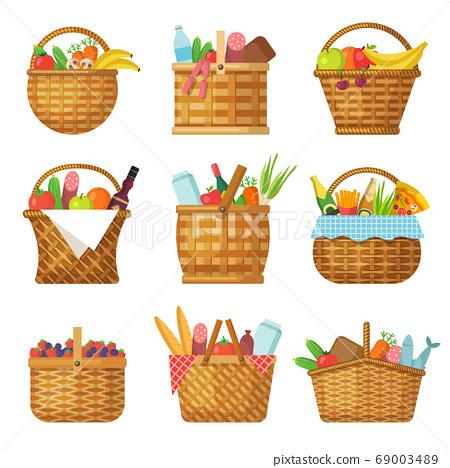 Basket with products. Handcraft picnic hamper with various food vegetables fruits vector baskets 69003489