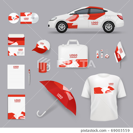 Identity set. Business souvenirs corporate products cards blank stationery tools cars vector identity elements collection 69003559