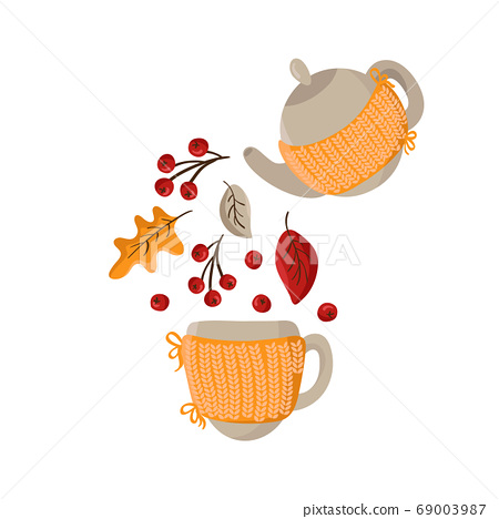 Vector autumn pouring tea party. Knitted Teapot pour fall elements as leaves and berries in mug. Place for text on mug and teapot. Concepn drink hot coffee or tea in autumn 69003987