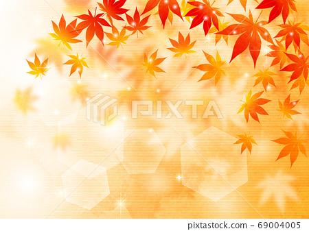 日本紙水彩風格蓬鬆秋葉背景水平矢量排列可調 69004005