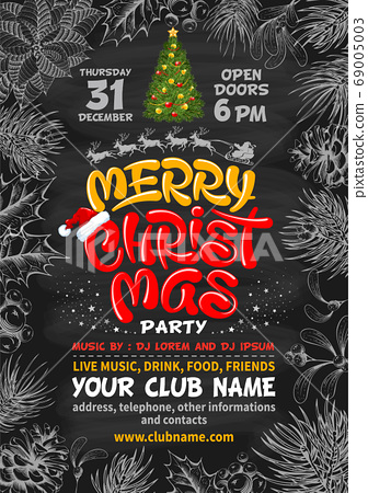 Merry Christmas Party Poster Background With 69005003