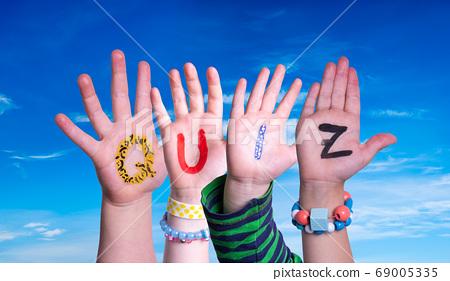 Children Hands Building Word Quiz, Blue Sky 69005335