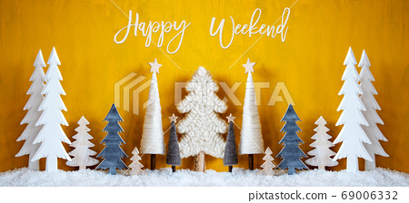 Banner, Christmas Trees, Snow, Yellow Background, 69006332
