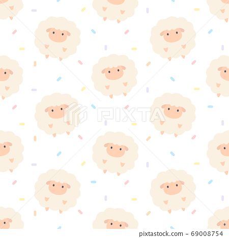 Adorable sheep seamless pattern background 69008754