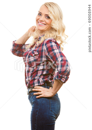 Mid aged woman casual style posing 69008944