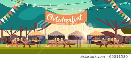 Oktoberfest festival party celebration concept empty no people decorated park 69011580