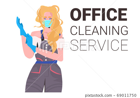 woman janitor professional office cleaner in medical mask wearing gloves coronavirus quarantine concept 69011750