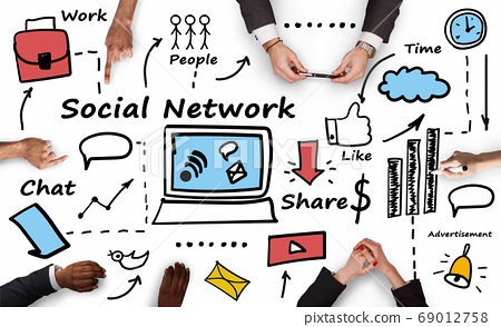 Group Of People Communicating Online, White Background, Collage With Icons 69012758