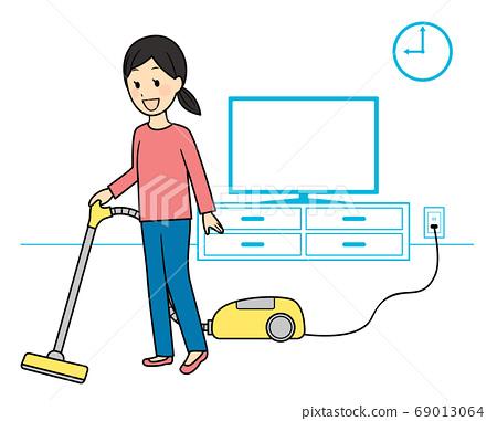 진공 청소기로 청소 69013064