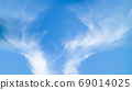 Blue sky and white fluffy cloud, natural scene for background. 69014025