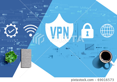 VPN concept with a cup of coffee 69016573