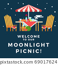 Illustration of a picnic under the moonlight vector flat icon isolated 69017624