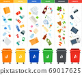 Set of sorting bins for garbage of different colors illustration in a flat design. 69017625