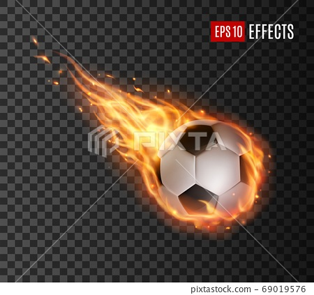 Soccer ball flying with fire tongues, football 69019576