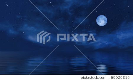 Full moon in starry night sky above ocean surface 69020816