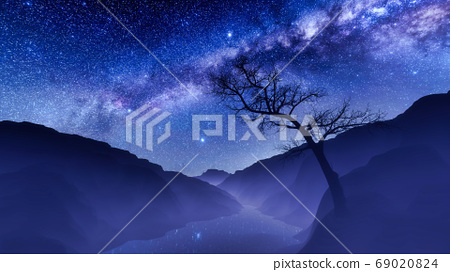 Milky way over mountain landscape with dead tree 69020824