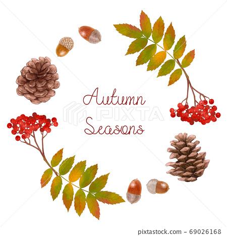 秋天的插圖框架材料的松果和橡子 69026168
