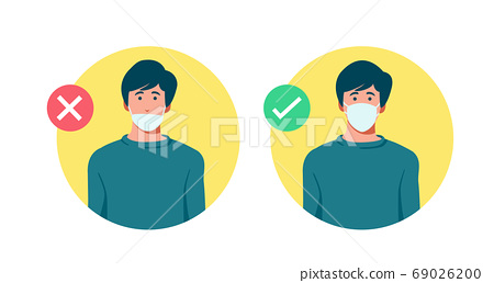 Set of men wearing medical mask in the wrong way with red cross symbol, one men wearing medical mask properly with   green check mark, protection concept, prevent virus, vector illustration  69026200